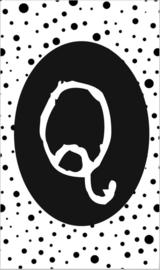 klein kaartje met letter Q.