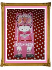 30. schilderij meisje theepot.drie luik op zijn kop