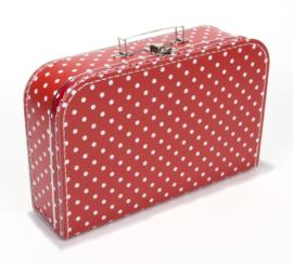 Koffer rood stip 35 cm
