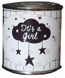 Blikje met tekst ''It's a Girl'' hoog 6 cm doorsnee 6 cm. met hartjes.