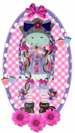 Sticker meisje tasje paars 20 bij 10,5 cm.