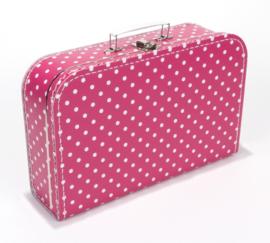 Koffer fuchia roze stip 35 cm