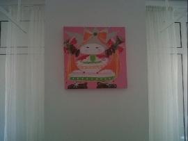 7.schilderij meisje taart 50 bij 50. GEDONEERD Sophia Kinderziekenhuis.