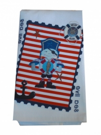 Handdoek 50 bij 100 jongen piraat in postzegel.