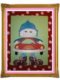 6. schilderij jongen auto 30 bij 40.