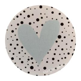 Sticker rond 4 cm met afbeelding mint hartje.