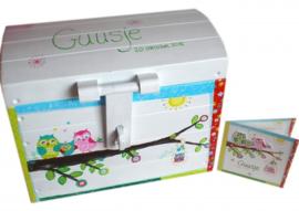 Deze speelgoedkist heeft de afmeting: 36x29x22 cm (LxBxH). is gemaakt van multiplex.