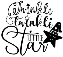 Muur/glas/hout Sticker zwart ''Twinkle twinkle little star'' 30 bij 30 cm.