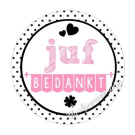 Sticker met tekst '' Juf bedankt  '' 6 cm doorsnee.