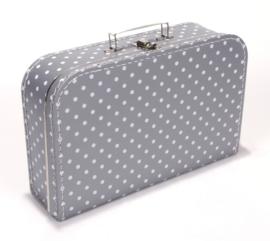 Koffer grijs stip 35 cm