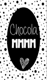 Klein bedank kaartje met tekst ''Chocola mmm'' 5 bij 8.5 cm.
