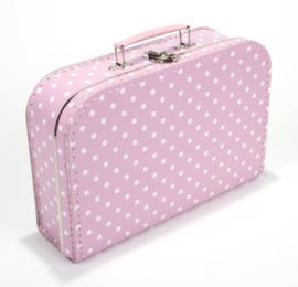 Koffertje licht roze stip 30 cm
