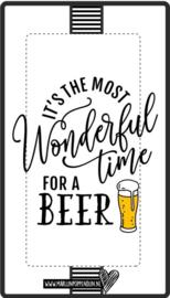 Fles etiket, leuk je fles net even anders te maken, met tekst ''it's the most wonderful time for a beer''. 6.5 bij 11.5 cm
