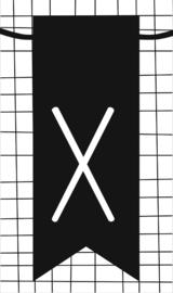 klein kaartje met letter X