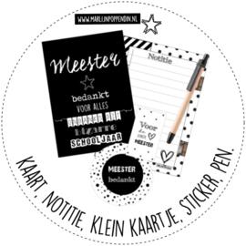 Meester setje met A6 kaart, notitie, klein kaartje, sticker 6 cm doorsnee, pen.