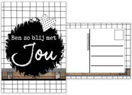 33.Kaart met tekst ''Ben zo blij met jou''.