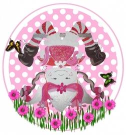 Sticker meisje popje op zijn kop 15 bij 14,5 cm.