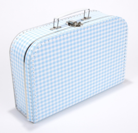 Koffertje blauw geruit 30 cm