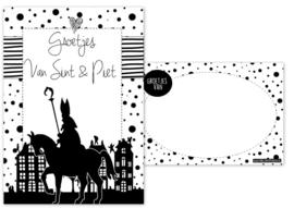 Kaart A6 met tekst ''Groetjes van Sint & Piet .''.