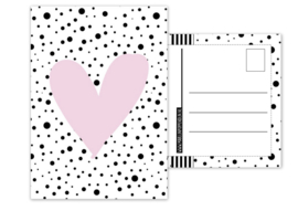 Kaart A6 met afbeelding''hartje .''roze . 10.5 bij 14.8