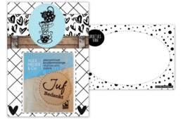 Kaart A6 met tekst ''Time for tea'' en ''Juf bedankt .''. 10.5 bij 14.8