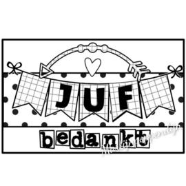 Sticker met tekst ''Juf bedankt'' 8 bij 5 cm.