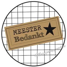 Sticker met tekst ''Meester bedankt'' 6 cm gerui.