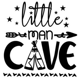 Muur/glas/hout Sticker zwart ''Little man cave'' 30 bij 30 cm.