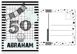 Kaart A6 met tekst ''50 Abraham .''. 10.5 bij 14.8