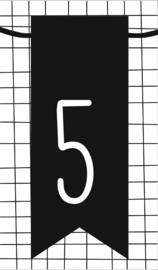 klein kaartje met cijfer 5