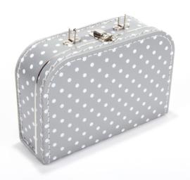 Koffertje grijs stip 25 cm