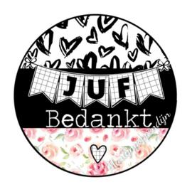 Sticker met tekst ''Juf bedankt'' 6 cm doorsnee.
