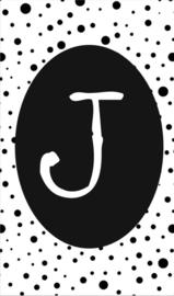 klein kaartje met letter J.