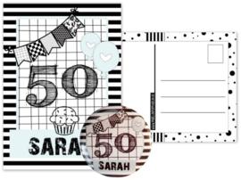 Kaart Sarah met button 56mm.
