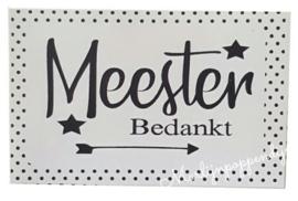 Sticker meester. maat 8 bij 5 cm.