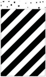 Zakje met zwart wit strepen 12 bij 19 cm