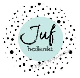 Sticker met tekst ''Juf bedankt'' 6 cm doorsnee. mint.