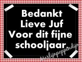 Sticker met tekst '' bedankt lieve juf voor dit fijne schooljaar''. 6 bij 8 cm