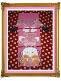 31. schilderij meisje drie luik op zijn kop met benen.