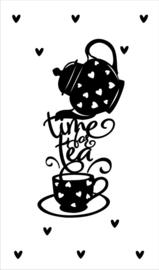 Kaartje met tekst ''time for tea'' 5 bij 8.5 cm.