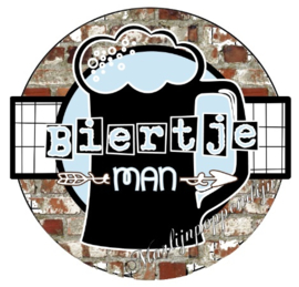 Button opener met tekst '' Biertje man'' 56 mm.
