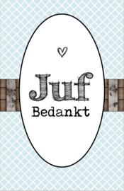 Klein bedank kaartje met tekst ''Juf bedankt'' 5 bij 8.5 cm.