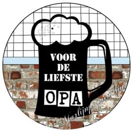 Button opener met tekst ''Voor de liefste Opa'' 56 mm.