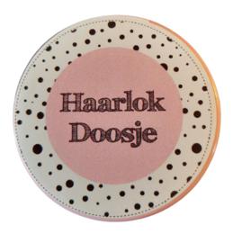Haarlokdoosje roze/wit 5cm doorsnee 2 cm hoog.