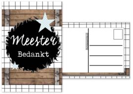 Meester setje met '' sticker 6 cm, kaart a6, pen, klein kaartje, notitie blokje.