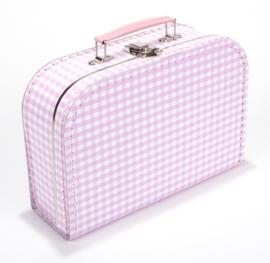Koffertje roze geruit 25 cm
