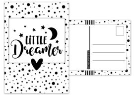 Kaart A6 met tekst ''Little dreamer .''. 10.5 bij 14.8