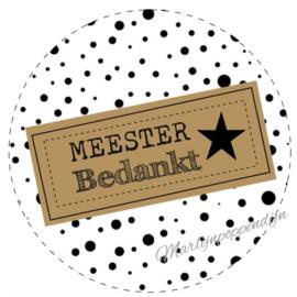 Sticker met tekst ''Meester bedankt'' 6 cm.