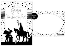 Kaart A6 met tekst ''Groetjes van Sint & Piet''.