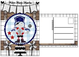 6.Kaart met afbeelding piraat en  tekst ''Hiep hiep hoera ''.